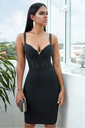 Black Bandage Bodycon Dress with Straps and V-Neck