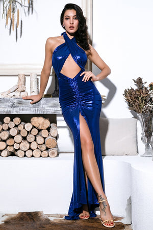 Long Blue Crossover Cutout Dress