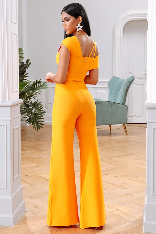 Orange bandage crop-top and flared pants set