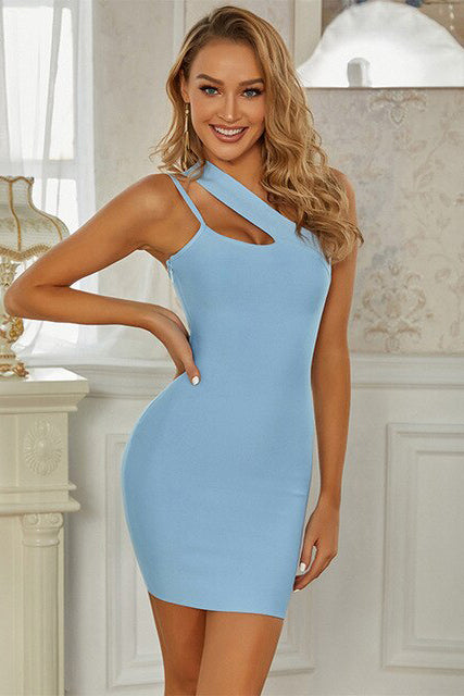 Blue One-Shoulder Strappy Neck Bodycon Dress