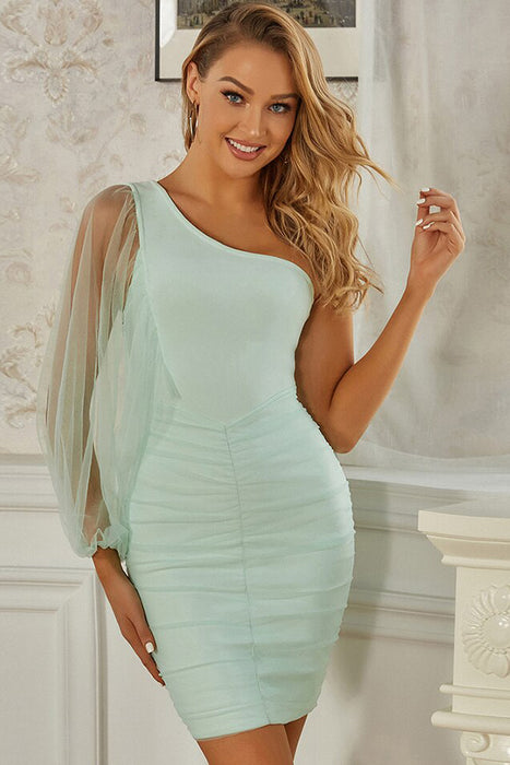 Green Bandage One Puff Sleeve Bodycon Dress