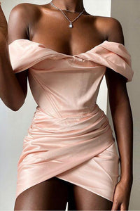Pink satin off-the-shoulder mini dress