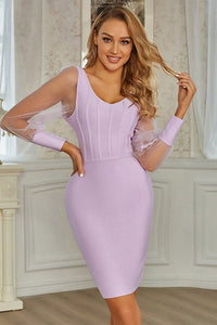 Purple Mesh Long Sleeve Bodycon Bandage Dress