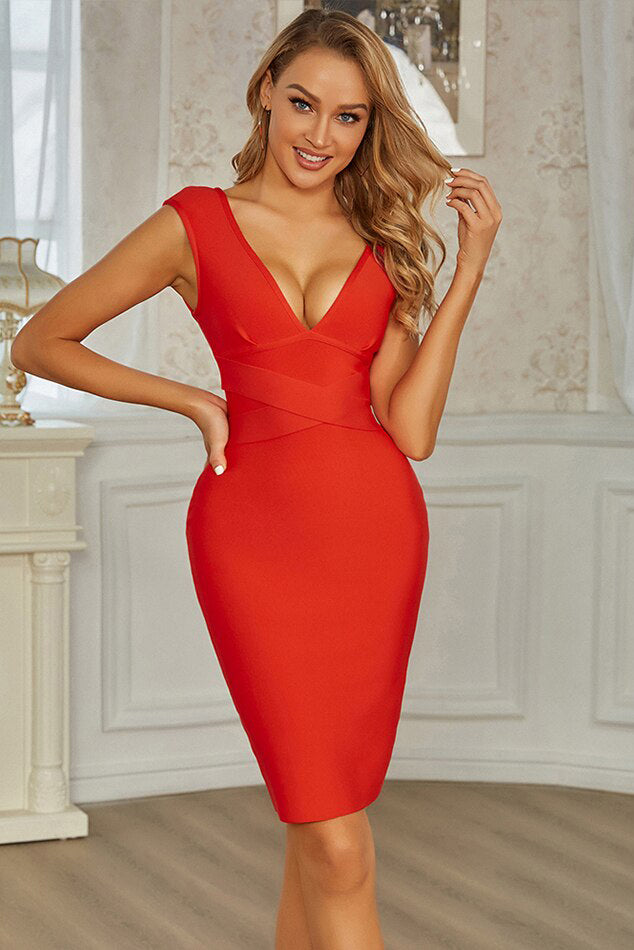 Red V-Neck Bandage Midi Dress