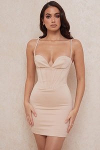 Satin apricot corset dress with woven cups and critaux straps