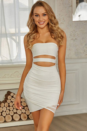 White Cutout Bandage Bandeau Mini Dress