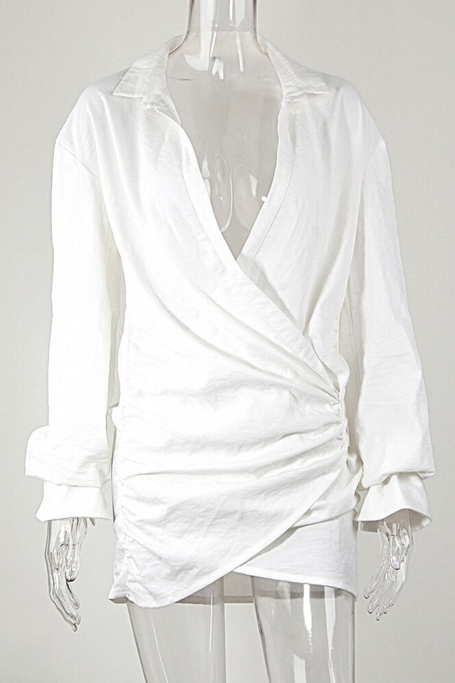 White Ruched Long Sleeve Low Cut Shirt Dress