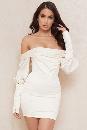 White Satin Boat Neck & Puff Sleeve Bodycon Dress