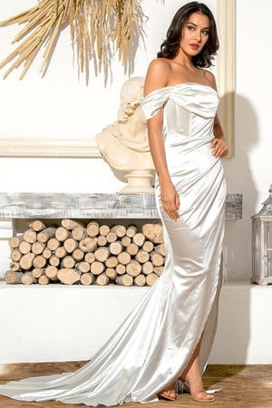 White satin long dress with boat neck corset