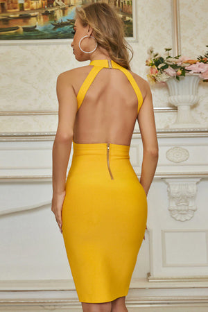 Yellow Sleeveless Bandage V-Neck Bodycon Dress