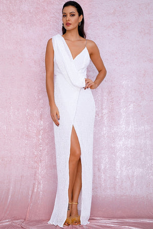 Long white asymmetrical dress with draped details