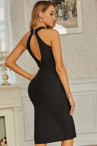Black High Neck Bandage Bodycon Dress With Slit Detail