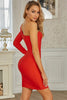 Red Bandage Front Single Sleeve Bodycon Dress