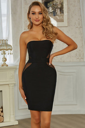 Black bandeau dress with tulle insert