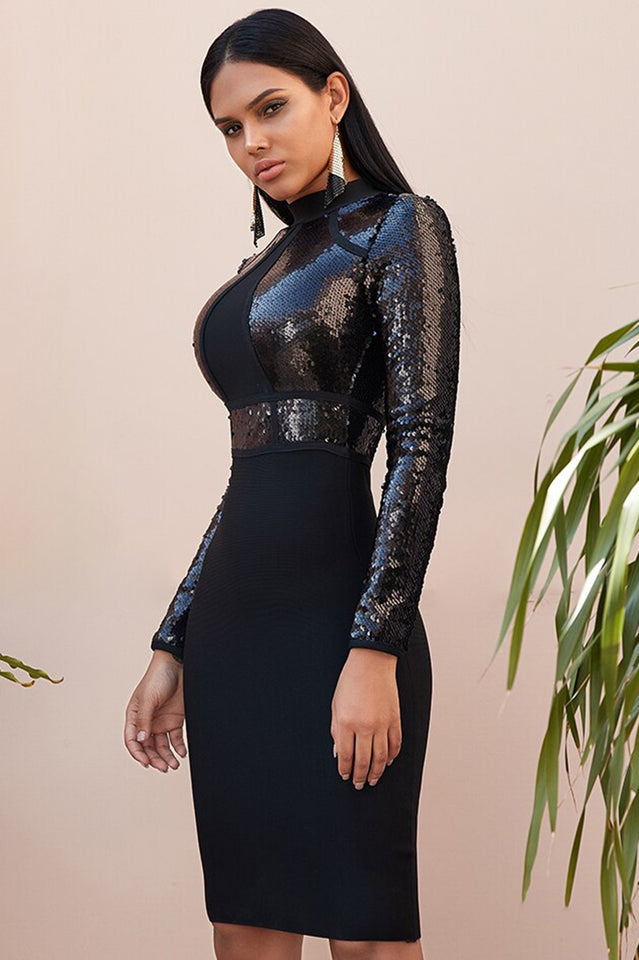 Black Sequin Bandage Long Sleeve Bodycon Dress