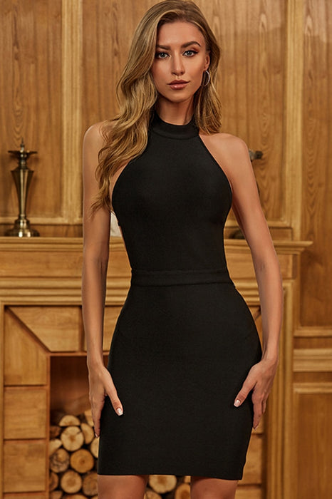 Black Bandage Open Back High Neck Bodycon Dress