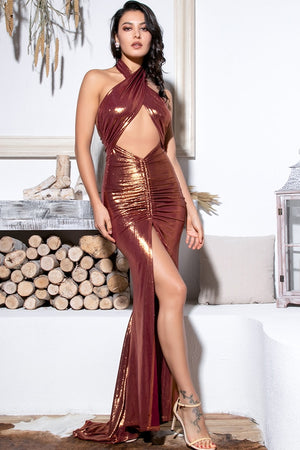 Long Brown Cutout Crossover Dress