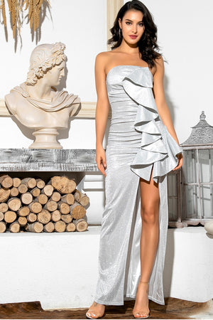 Long structured silver strapless dress with frill detail