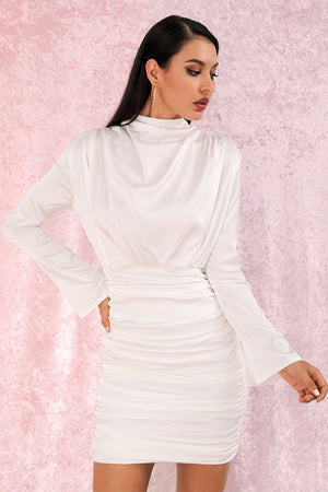 Satin white bodycon dress with stand-up collar and gathered skirt