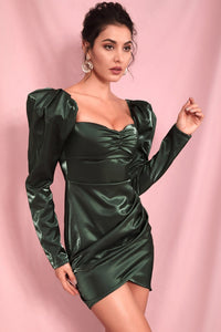 Green satin shirt dress with heart collar and long sleeves
