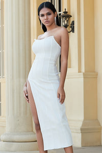 White Extreme Slit Bandeau maxi Dress