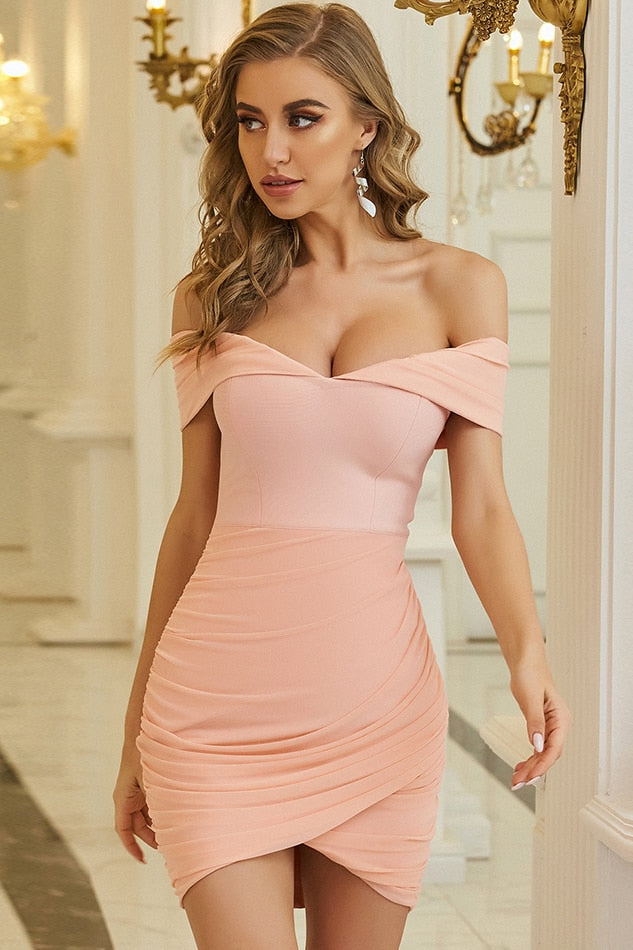 Light Orange Off Shoulder Mini Wrap Bandage Dress