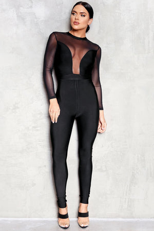 Mesh Long-sleeve Bandage Jumpsuit