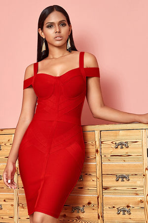 Red bandage bodycon dress with heart neckline and bare shoulders