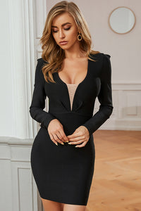 Black Long Sleeve Bodycon Dress With Plunging V-Neck
