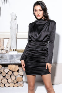 Black satin bodycon dress with stand-up collar and gathered skirt