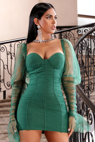 Green Bandage Bodycon Dress With Heart Collar and Long Tulle Sleeves