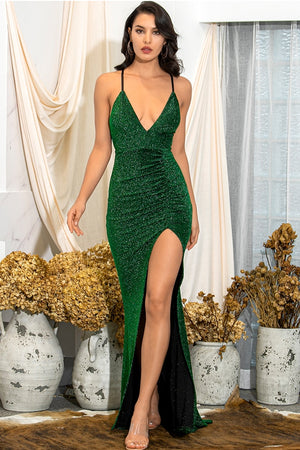 Emerald green maxi dress with straps and extreme slit