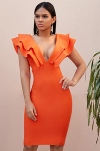 Orange bandage midi dress with frills