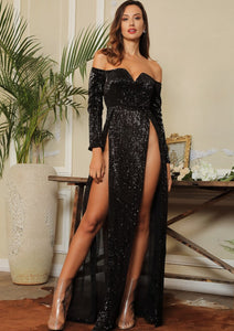 Long Black Dress With Sequins Bardot Collar and Extreme Slits