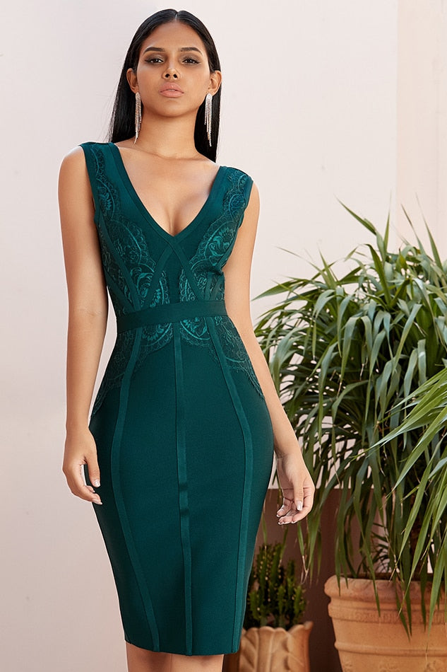 Green bandage midi dress with plunging neckline