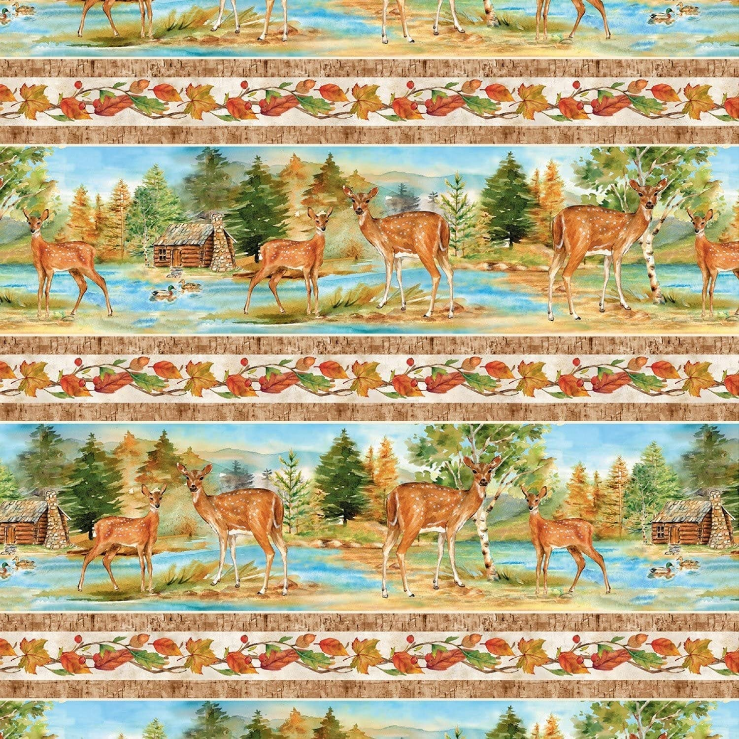 Deer, Cotton Fabric By the Yard, Woodland Quilting Fabric