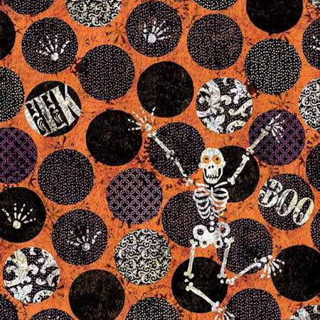 Halloween Skeletons Cotton Fabric by the Yard, Halloween quilting