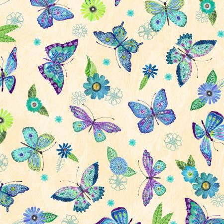 Butterfly, Cotton Fabric By the Yard for Quilting