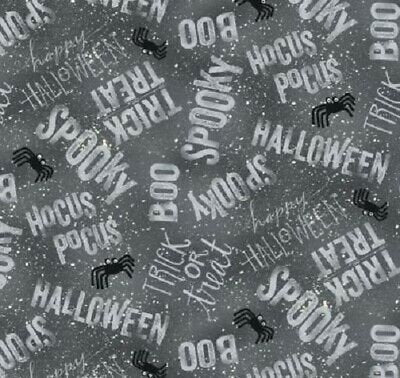 Halloween Words Cotton Fabric by the Yard, Halloween quilting