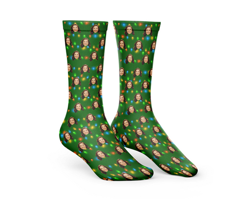 Green Christmas Socks With Lights