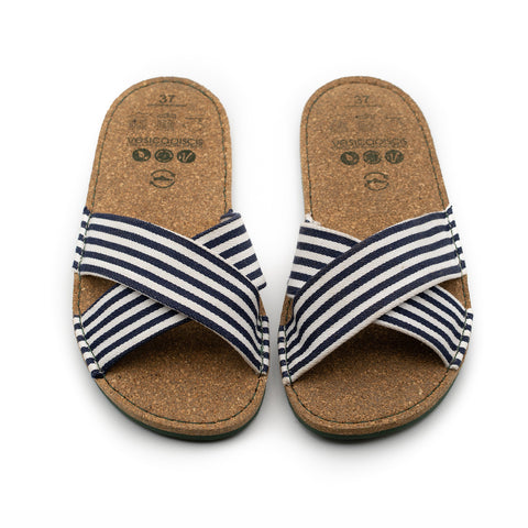 ALANIS striped crossed slides