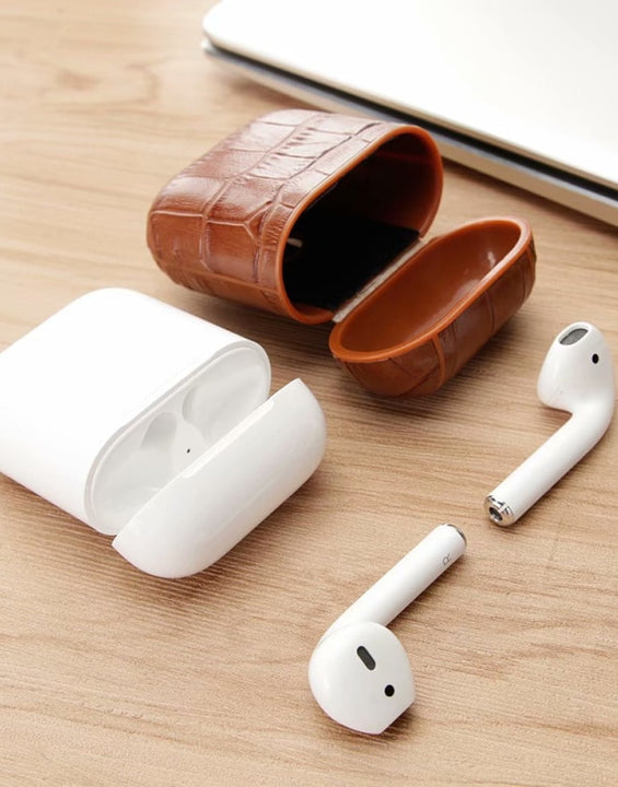Genuine Leather Crocodile Pattern Case for Apple AirPods 1 & 2