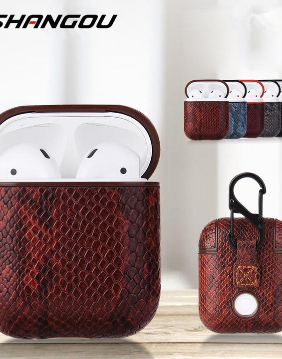 Inspired Snake Skin PU Leather Bag Case For Apple AirPods 1 & 2