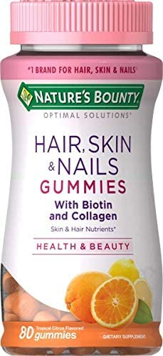 Hair, Skin, & Nails with Biotin and Collagen, Tropical Citrus Flavored, 80 Gummies