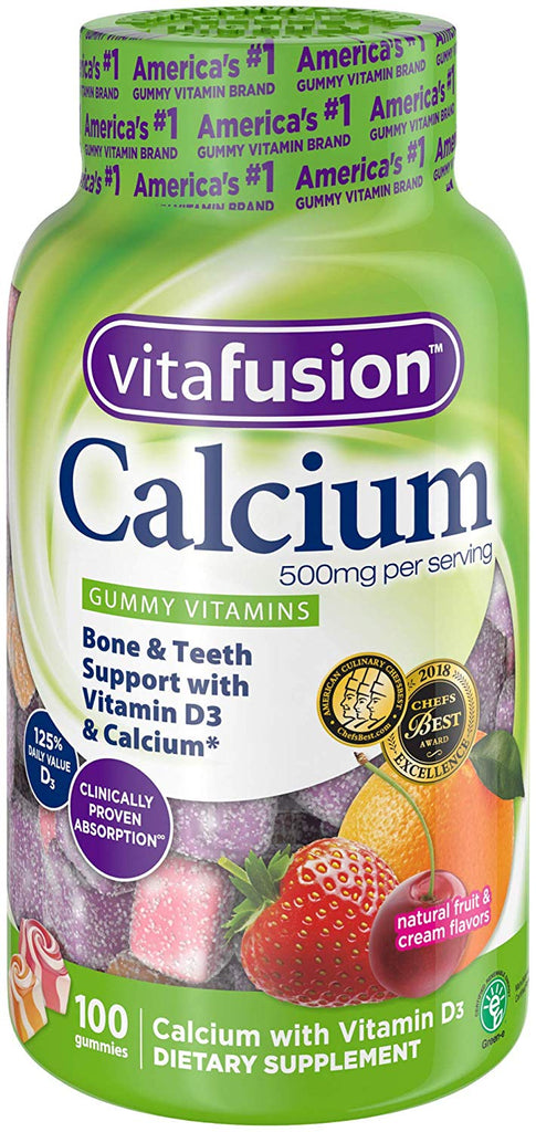 Calcium, Natural Fruit & Cream Flavors, 500 mg, 100 Gummies