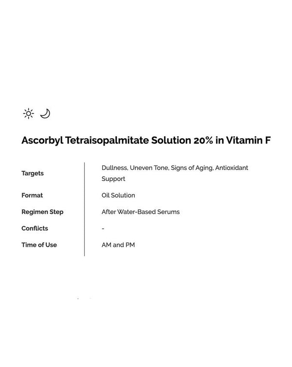 Ascorbyl Tetraisopalmitate Solution 20% in Vitamin F 30ml