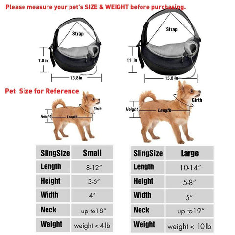 Dog Carrier Bag for Puppies and Small Dogs Size Chart