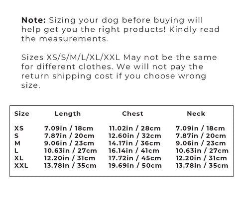 jean jacket for dogs sizing instructions
