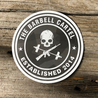 4x4 Circle Logo Sticker ( Black Camo ) - The Barbell Cartel , Weightlifting, wrist wraps, booty shorts, mesh leggings, weight belt, Board shorts