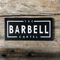 The Barbell Cartel rectangle sticker ( Black ) - The Barbell Cartel , Weightlifting, wrist wraps, booty shorts, mesh leggings, weight belt, Board shorts